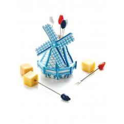Party Pic Set Wind Mill Delft Blue Hand Painted 代爾夫特藍色圖畫荷蘭風車聚會芝士小义